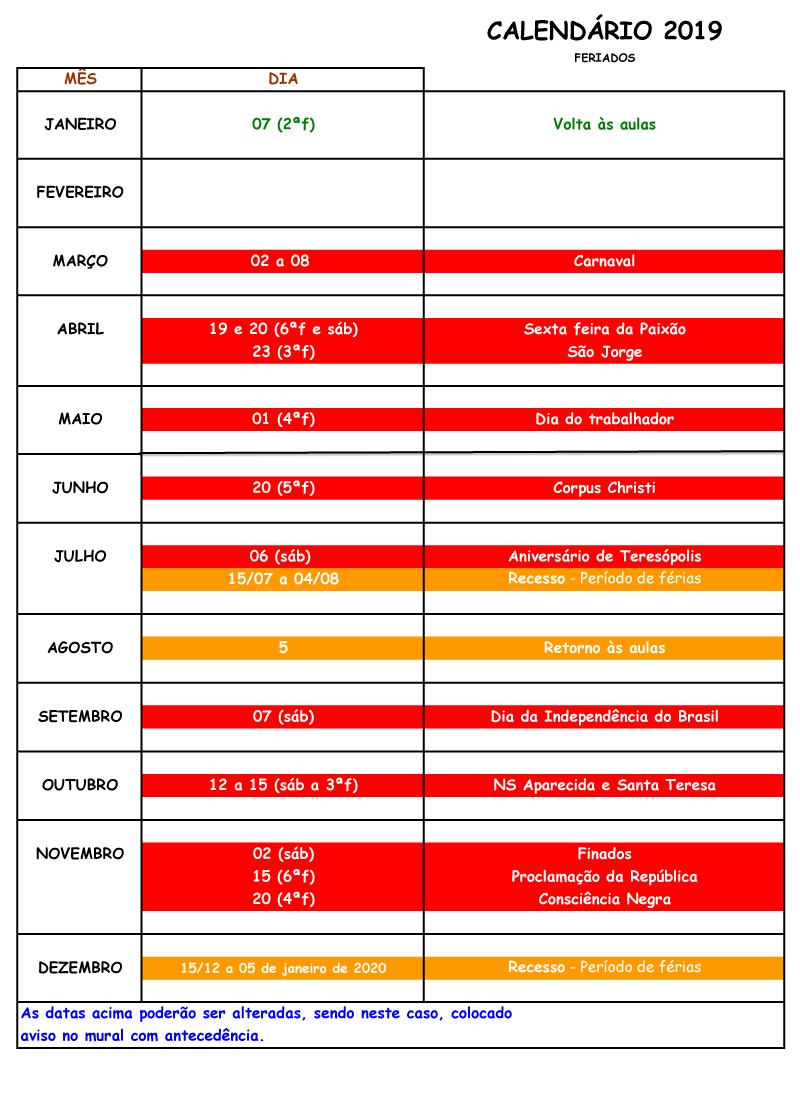 Calendário 2019 - Instituto de Artes