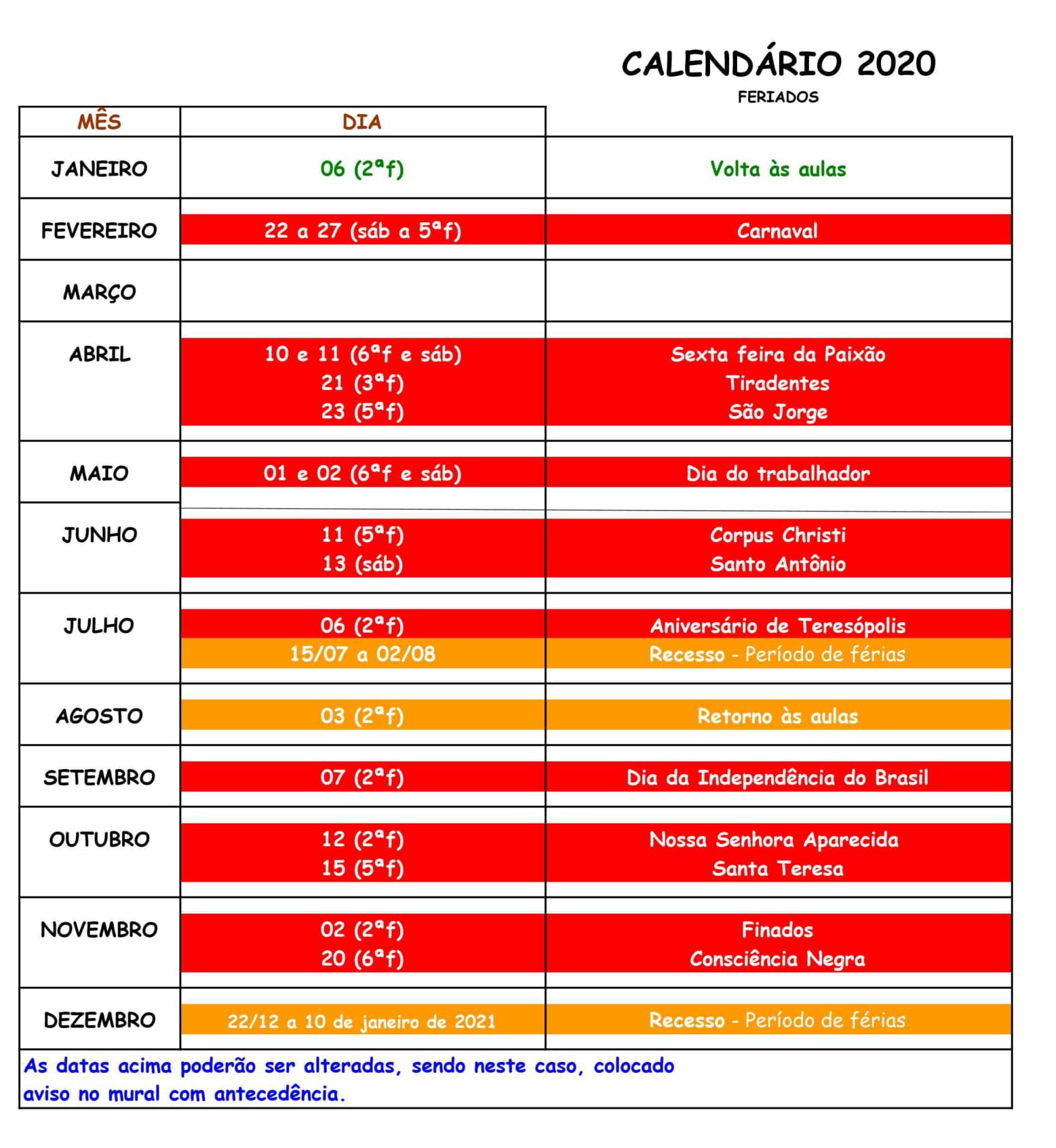 Calendário 2020 - Instituto de Artes