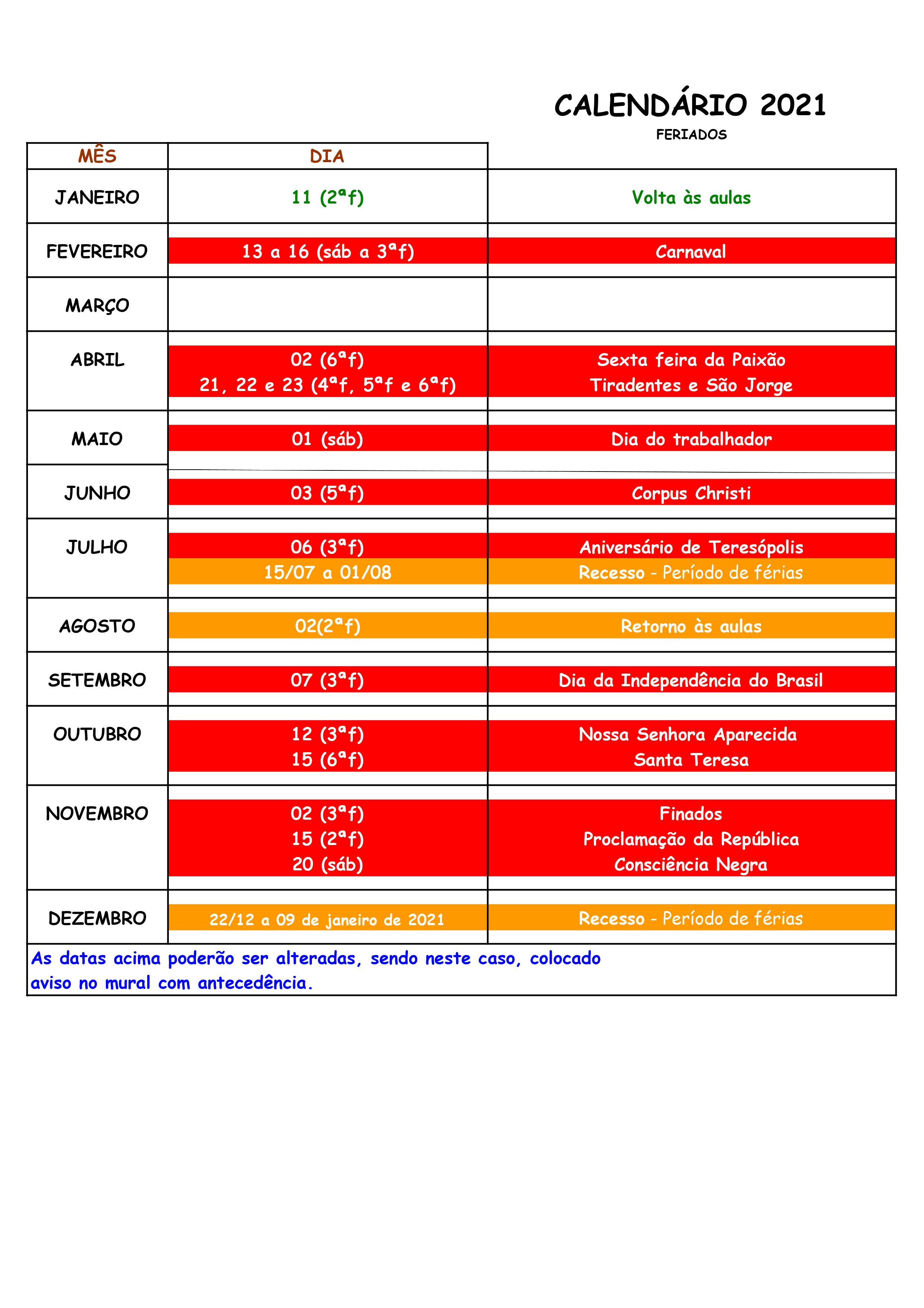 Calendário 2021 - Instituto de Artes